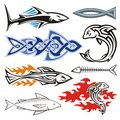 Fish design assorted icons isolated on white background Royalty Free Stock Images