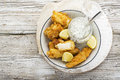 Fish dish - Cod in beer batter with tar tar sauce for a healthy and comfortable diet Royalty Free Stock Photo