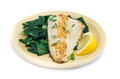 Fish dish - fish fillet with chard Royalty Free Stock Photo