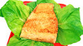 Fish dish fried salmon fillet vegetables Royalty Free Stock Photos