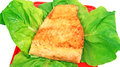 Fish dish fried salmon fillet vegetables Stock Photography