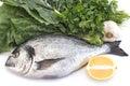 Fish dorade with swiss chard, parsley, garlic and lemon