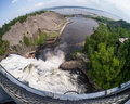 Fish eye lens view of Montmorency Falls Quebec Canada Royalty Free Stock Photo
