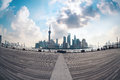 Fish-eye perspective of shanghai skyline Royalty Free Stock Photo