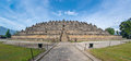 Fish-eye View of Ancient Borobudur Temple Stock Image
