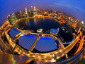 Fish eye view of singapore city skyline after sunset Royalty Free Stock Photography