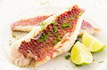 Fish fillet with fresh lime and herbs as closeup on a white plate Royalty Free Stock Photo