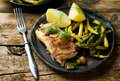Fish Fillet Poached in Cider. Royalty Free Stock Photo