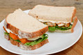 Fish finger sandwich on a plate fresh white serving Stock Images