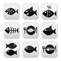Fish, fish on plate, skeleton vecotor buttons Royalty Free Stock Photo