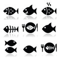 Fish, fish on plate, skeleton vecotor icons Royalty Free Stock Photo