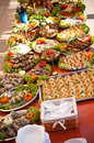 Fish foods buffet style a colorful table of assorted dishes Royalty Free Stock Images