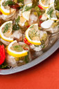 Fish in gel food delicious dish of bits with spices beautifully arranged on a metal plate Stock Images