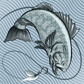 The fish in grey big jumping out of water after a hook with feather bait against wavy pattern drawn retro style using blue palette Royalty Free Stock Photos