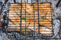 Fish on a grill stakes of red Stock Photo