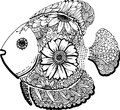 Fish hand drawn doodle Royalty Free Stock Photo
