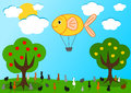 The fish hot air balloon and the hungry cats funny cartoon illustration Stock Images