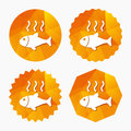 Fish hot sign icon. Cook or fry fish symbol. Royalty Free Stock Photo