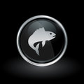 Fish icon inside round silver and black emblem