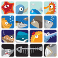 Fish icon set Royalty Free Stock Photography