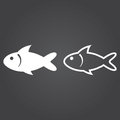 Fish icon. Solid and Outline Versions. White icons on a dark bac