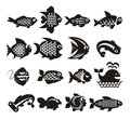 Fish icons set author s illustration in Stock Photography