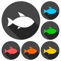 Fish icons set with long shadow