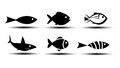 Fish icons on white background Stock Photography
