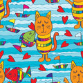 Fish kiss cat seamless pattern Royalty Free Stock Photo