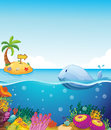 A fish looking at the island with an arrow illustration of Royalty Free Stock Images