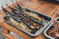 Fish mackerel grilled at bbq Royalty Free Stock Photo