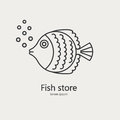 Fish made in modern line style vector.