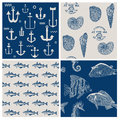 Fish and marine background set for scrapbook or design in Royalty Free Stock Photos