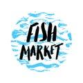Fish market hand drawn