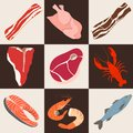 Fish and meat flat icons Royalty Free Stock Photo