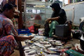 Fish merchants selling in the market the karimun island central java indonesia Stock Photo