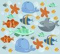 Fish ocean Summer pattern. Blue color Vector