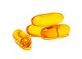 Fish oil capsules  on white Royalty Free Stock Photo