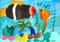 Fish painted with watercolors kids drawing Stock Images