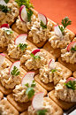 Fish pate crackers with radish and parsley Stock Image