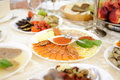 Fish plate dish on festive table at restaurant Stock Images