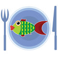 Fish on the plate isolated Royalty Free Stock Image