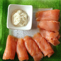 Fish plate salmon and horseradish on a fishplate Royalty Free Stock Photos