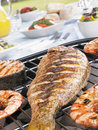 Fish And Prawns Cooking On A Grill Royalty Free Stock Photo