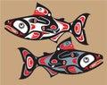 Fish - Salmon - Native American Style Royalty Free Stock Photo