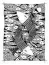 Fish in the sea. Graphic drawing Royalty Free Stock Photo
