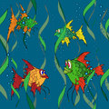 Fish in the sea. Seamless texture. Stock Photos