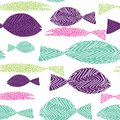 Fish seamless pattern. Colordul fish with stripes ans dots. Vector illustration on white background