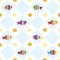 Fish seamless plaid pattern Royalty Free Stock Photo