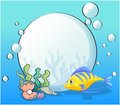 A fish and seashells under the sea illustration of Stock Images